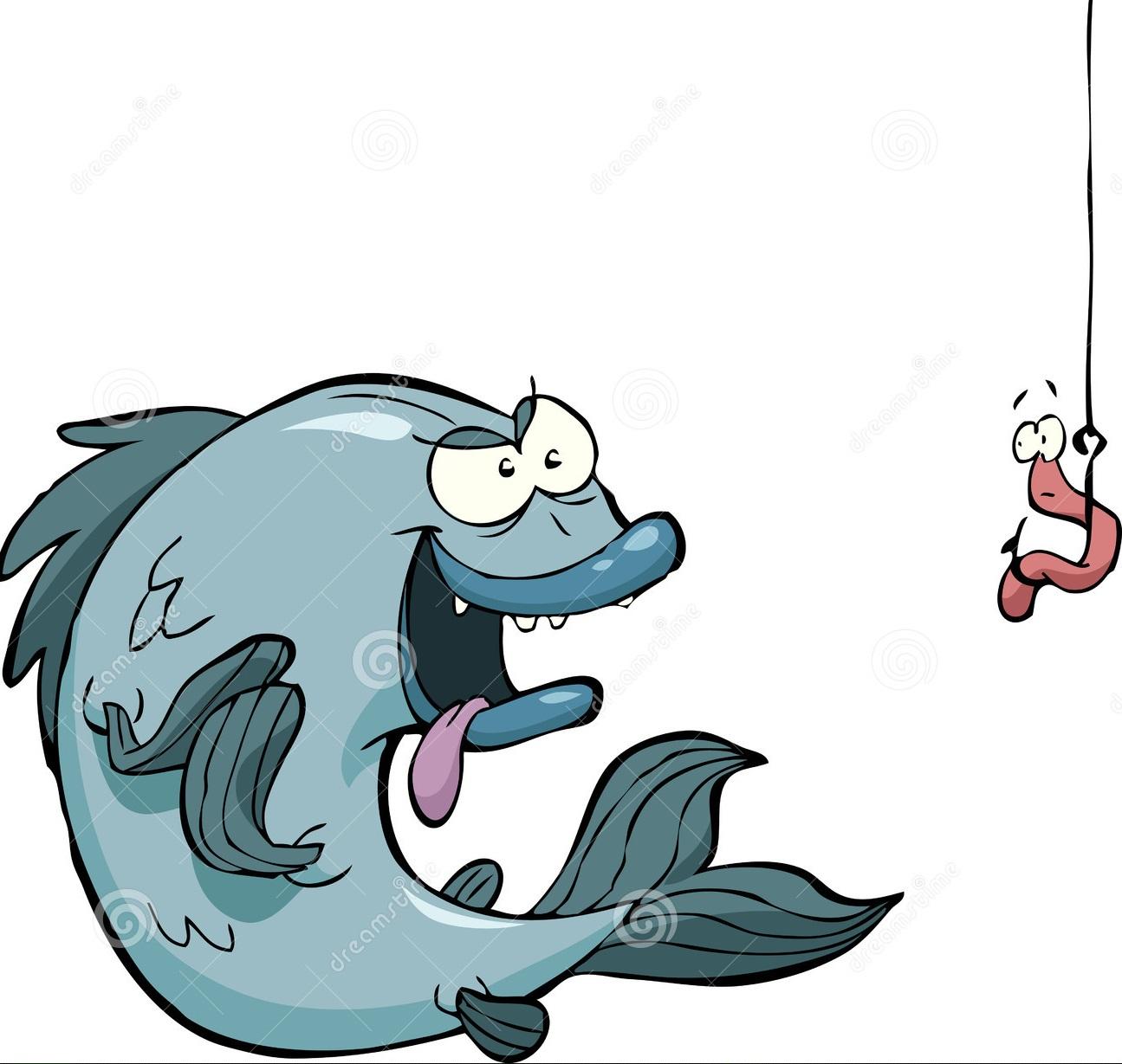 рыба с наживкой червяка